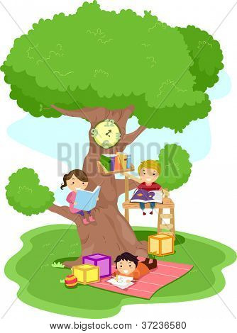 Illustration of Kids Reading in a Treehouse