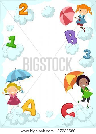 Illustration of Kids Carrying Umbrellas Dancing Beside Clouds Supporting Letters of the Alphabet