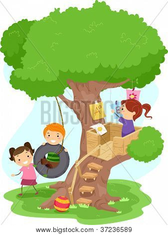 Illustration of Kids Playing in a Treehouse