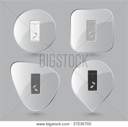 Glass with tablets. Glass buttons. Raster illustration.