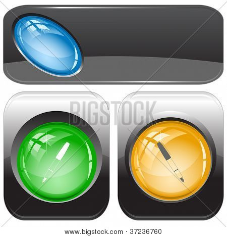 Ink pen. Internet buttons. Raster illustration. Vector version is in my portfolio.
