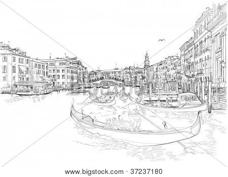 Venice - Grand Canal. View of the Rialto Bridge. Bitmap copy my vector