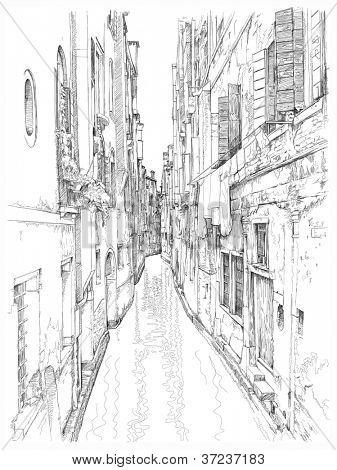 Venice - Calle Frutarol. Bitmap copy my vector