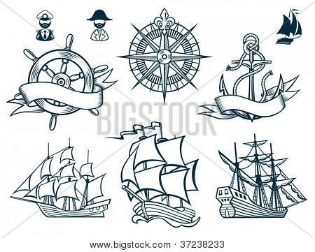 Sailing ships emblems Iconset