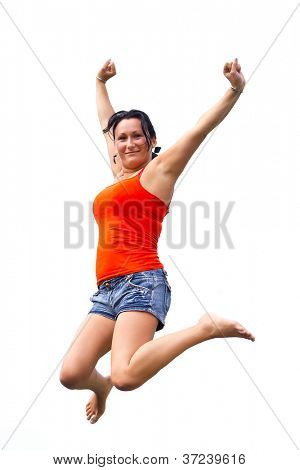 Brunette jumping on trampoline over white background