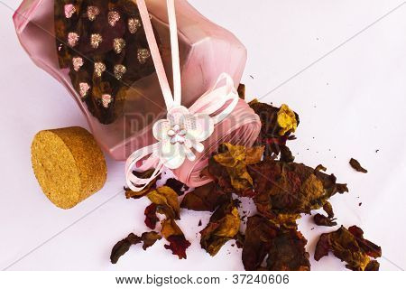 Decorative Pot Filled With Dried Flowers On White Background