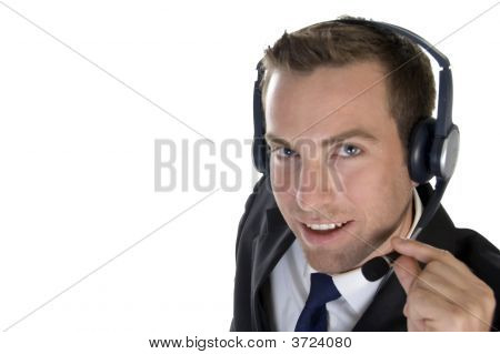 Smiling Businessman With Headphone