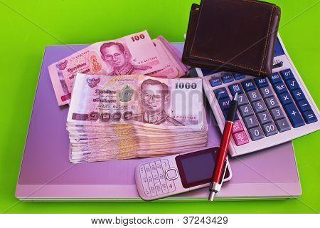 Close Up Of 1000 Baht Banknotes And Calculator On Note Book