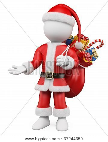 3D Christmas White People. Santa Claus Pointing With One Hand To The Side