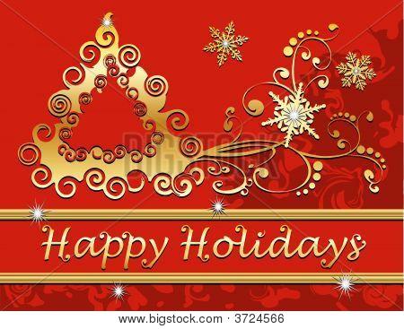 Happy Holidays Christmas Tree Snowflakes Swirls