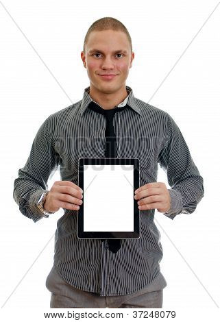 Handsome Man Showing Touch Screen Tablet Pc With Blank Screen. Isolated On White