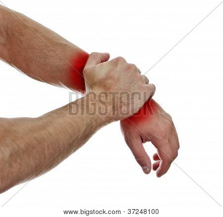 Close Up View Of Male Hands With Wrist Pain. Isolated On White.