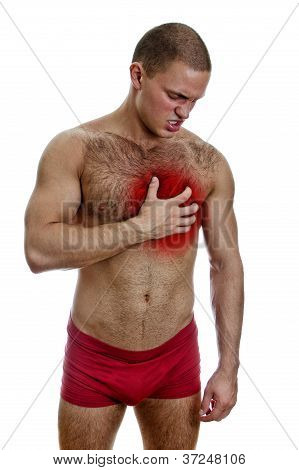 Front View Of Muscular Man With Chest Pain. Isolated On White.