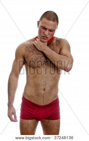 Muscular Man Suffering From Pain In Throat. Isolated On White.
