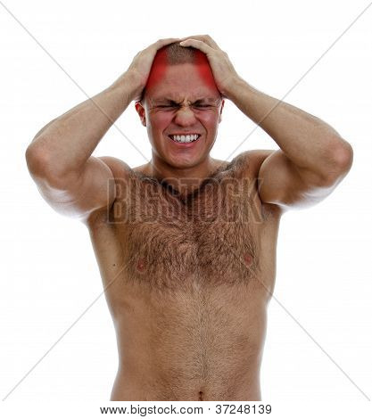 Muscular Man Suffering From Headache. Isolated On White.