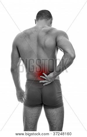 Rear View Of Muscular Man With Spinal Pain. Isolated On White. Black And White