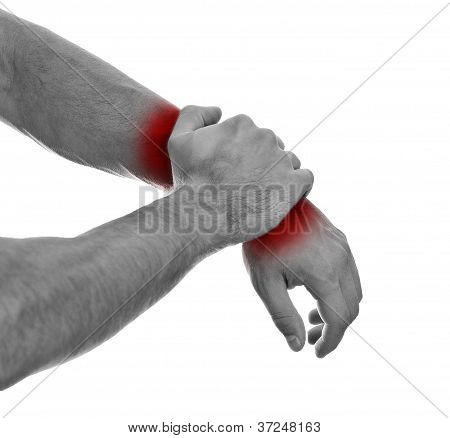 Close Up View Of Male Hands With Wrist Pain. Isolated On White. Black And White