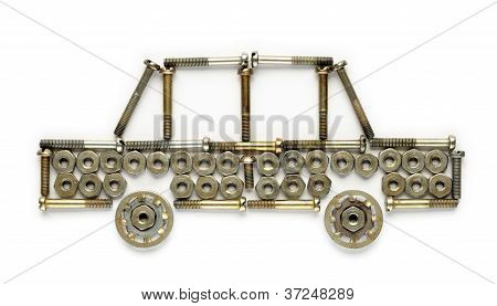Car Made Of Nuts And Screws Isolated On White Background