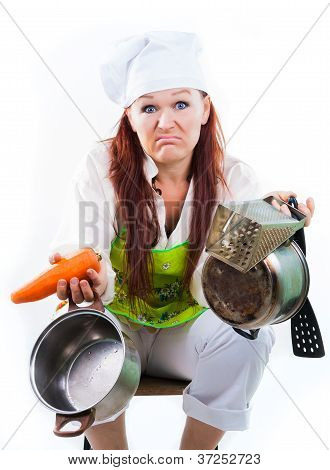 Tired Of Work In Kitchen And Cooking