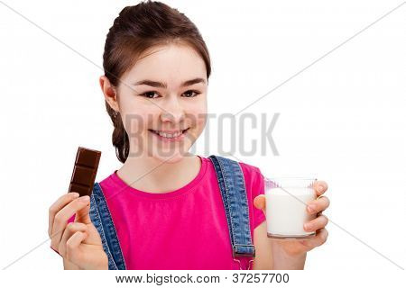 Girl eating bar of chocolate and drinking milk