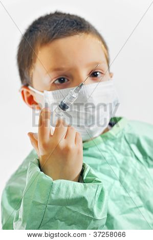 Boy In Uniform Giving Injection