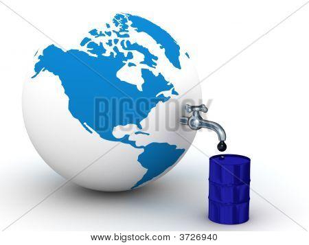 Reservas de petróleo en la tierra. Imagen 3D.
