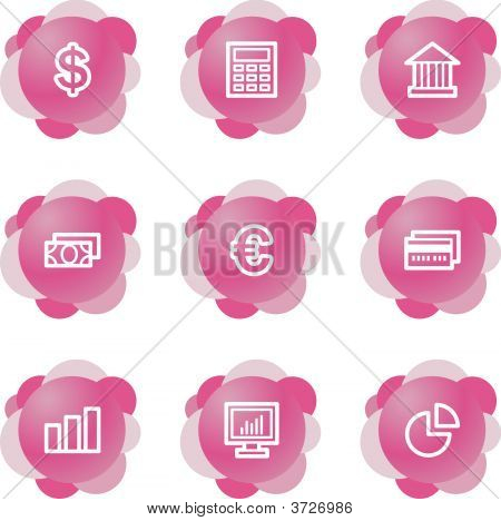 Finance Icons, Pink Flower Series