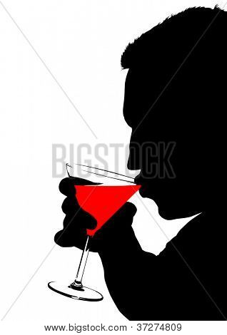 drawing of a man with a glasses of martini