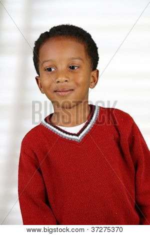 Portrait of a boy who is inside his home