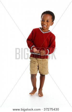 Portrait of a boy set against a white background