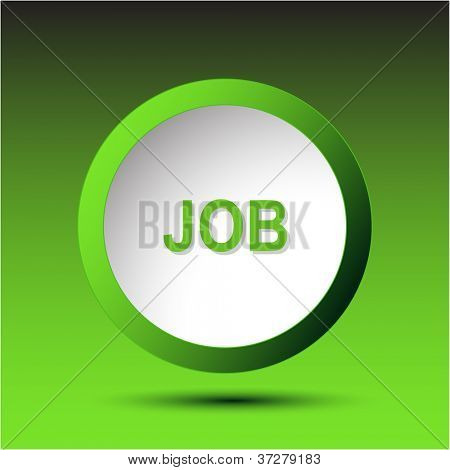 Job. Plastic button. Vector illustration.