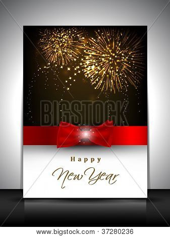 2013 new year celebration gift card or greeting card decorated with red ribbon. EPS 10.