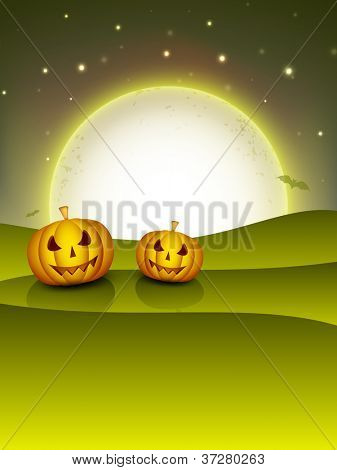 Halloween night background with scary pumpkins. EPS 10.