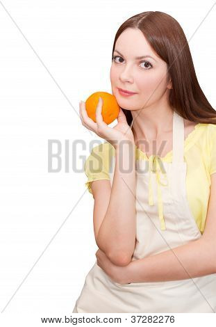 Beautiful Woman With Orange In Her Hand