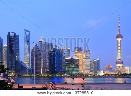 Lujiazui Finance&trade Zone Of Shanghai Skyline At New Night Landscape
