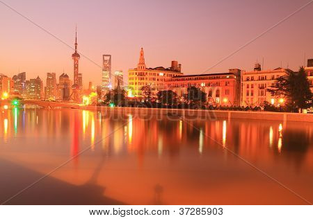 Shanghai Pudong Cityscape At Night Viewed From The Bund,new Landscape.
