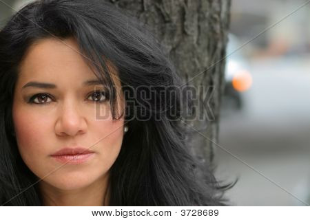 Woman In Front Of Tree
