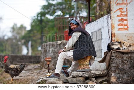 Nepalese peasant relaxing