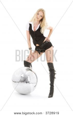 Go-Go Dancer In High Boots With Disco Ball