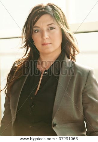 Busineeslady In Grey Pantsuit