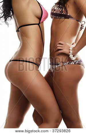 Two beautiful female torso in bikini over white