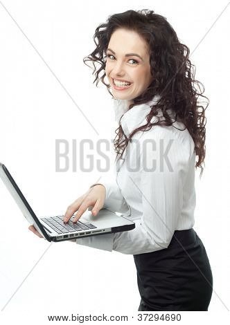 portrait of attractive  caucasian smiling woman isolated on white studio shot looking at camera computer notebook laptop