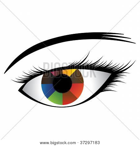 Colorful Illustration Of Human Eye With Multicolored Iris Showing Almost Rainbow Colors And Black Pu