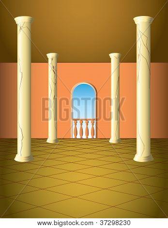 Säulensaal mit Fenster