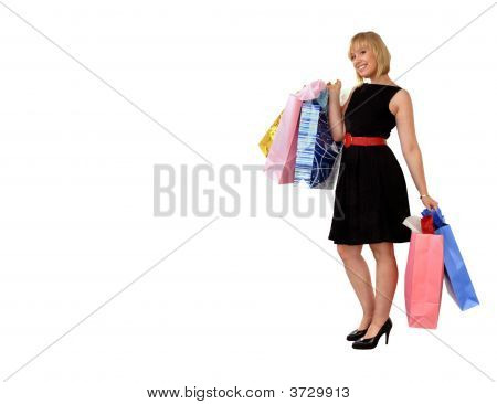 Attractive Blond Girl With Shopping Bags - Clipping Path