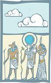 pic of horus  - Anubis and Horus with clouds Egyptian hieroglyph in woodcut style - JPG