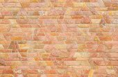 image of trapezoid  - pattern color of modern style design decorative red slate stone wall surface with cement in trapezoid shape - JPG