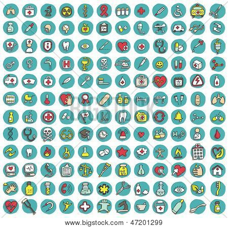 Collection Of 144 Healt And Medicine Doodled Icons