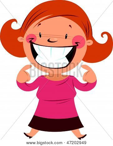 Happy woman smiling pointing her smile and teeth