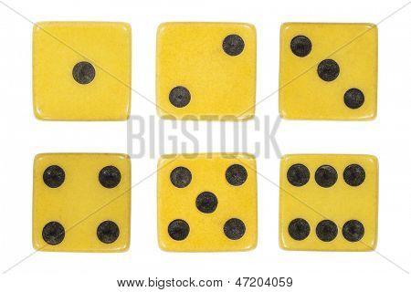 Vintage dice extreme macro isolated on white.